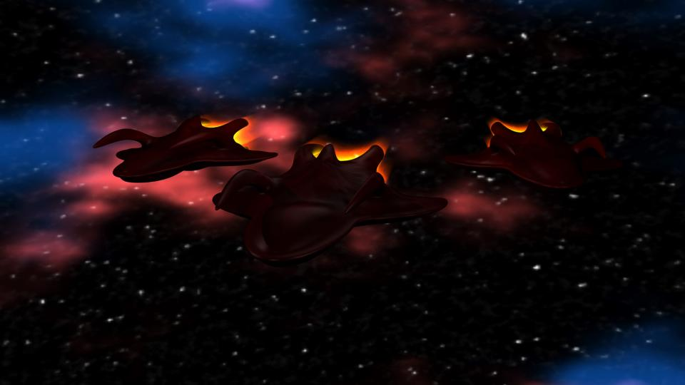 Each Alien Cruiser carried three Alien Fighters. This was enough to bring almost every ship to its knees.