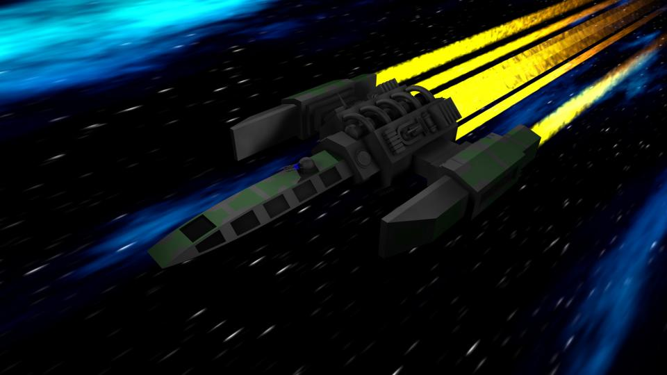 The Courier was the first and smallest ship to have a turret hardpoint. It came with a laser turret by standard. These pictures are showing a different turret as the ship was also used in Dark Swarm.