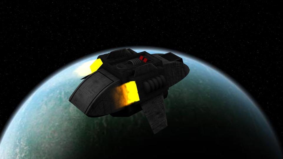 The original ship had a boxy design with engine nacelles at the bottom, making it look like a cheap version of a shuttlecraft from StarTrek TOS. I gave my version a wedge-shaped front to make it appear more like a TNG shuttlepod.