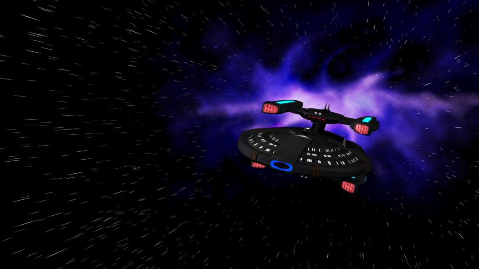 The Coriolis at warp. The ship was inspired by the U.S.S. Stargazer (Constellation-class), Picard's first ship.