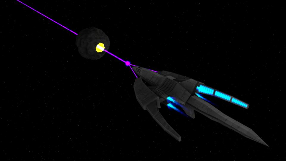 The Dragon using its focused anti-matter particle beam. The beam is powerful enough to cut through almost everything immediately.