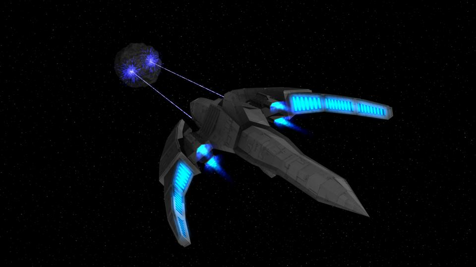 The Dragon-class using its particle cannons. The Dragon's focus emitters are clearly visible in this image. They are part of the ship's advanced hyperdrive.