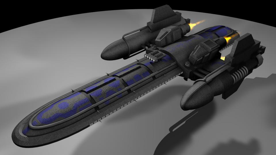 The Freefall-class is a non-modular freighter. I used this ship as a Donaan Freighter in my EVN-TC Dark Swarm, which sadly was never finished. Created November 2004
