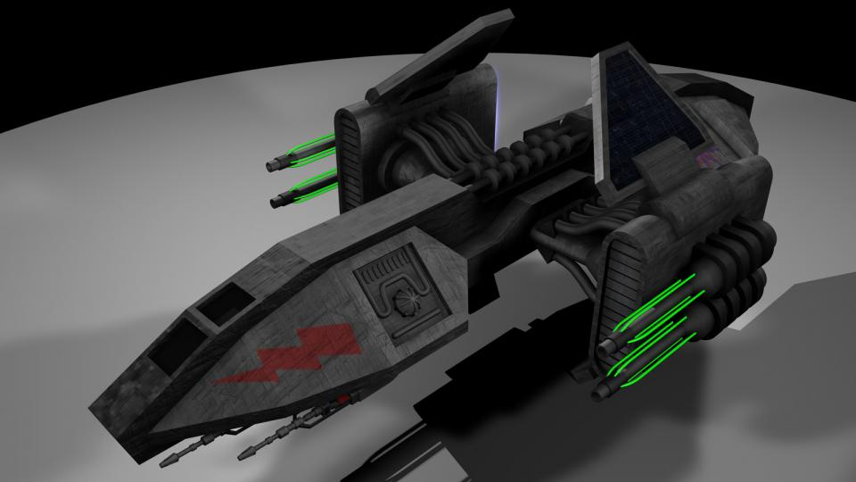 The Helian originally comes from my EVN-TC Dark Swarm. It was a mining ship used by the Tycho Brahe. The large guns at its sides are plasma cannons. They're not very effective in a fight, but can break apart less dense matter like rock with ease. Created June 2004