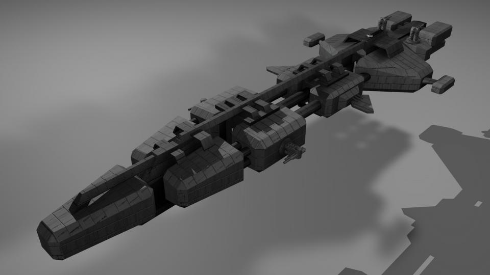 The Mammoth is a large freighter. It was inspired by a ship from EVE Online. Created in 2008