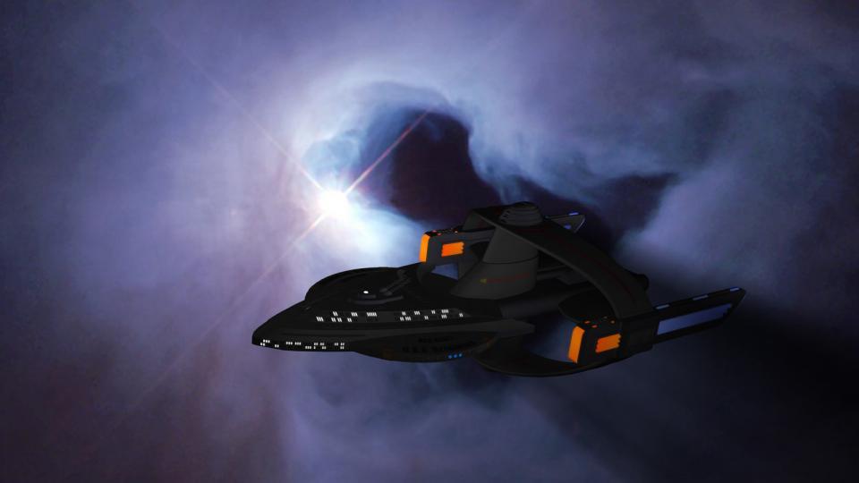 The Ozymandias passing a nebula.