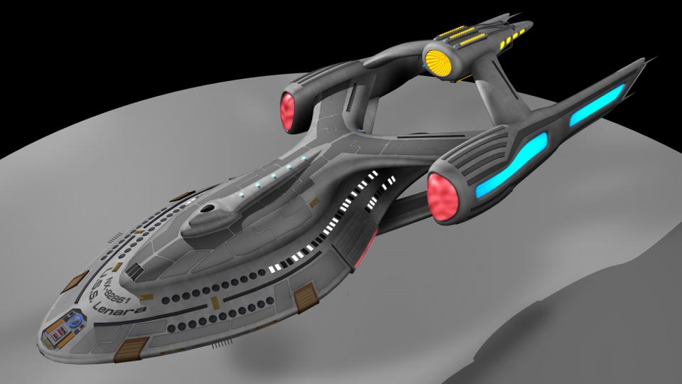 After Dr. Lenara Kahn of the Trill science consortium managed to create the first artifical wormhole, the Starbridge project was born. The Starbridge was the first ship to use a wormhole drive and travelled further than any other Starfleet ship before it. Created March 2011