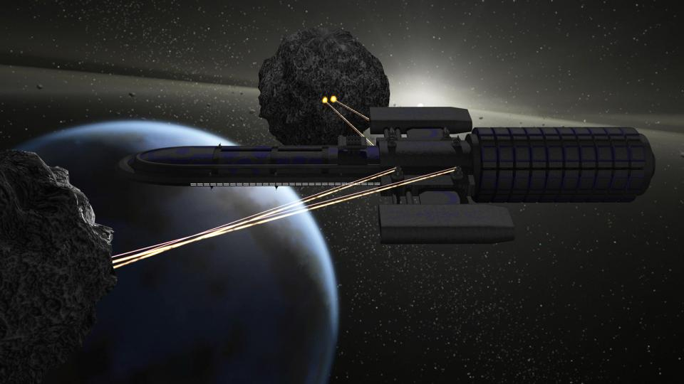 A Stardust-class mining two asteroids. The mining lasers fire two beams - a high power laser to melt the ore and a tractor beam to pull the molten material in. While the ship is not much of a fighter, it takes a lot of firepower to cut through its armor.