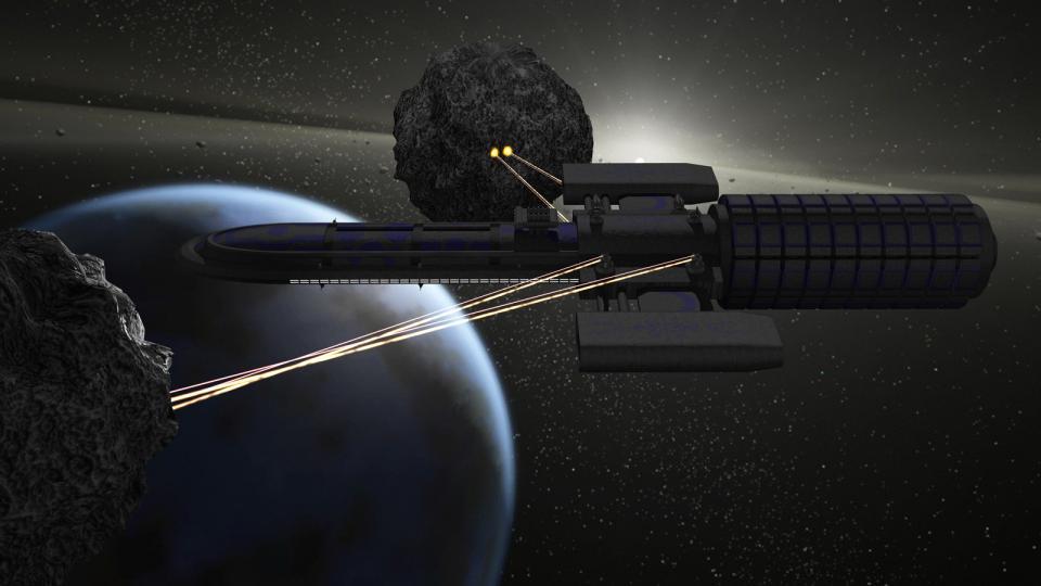 Eine Stardust baut das Erz zweier Asteroiden ab. Die Minenlaser feuern zwei Strahlen - einen Hochenergielaser um das Erz zu schmelzen, und einen Traktorstrahl, der das geschmolzene Material ansaugt. Das Schiff selbst ist keing roßer Kämpfer, es ist jedoch eine Menge Feuerkraft vonnöten, um seine dicke Panzerung zu durchdringen.
