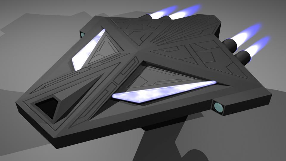 While the Seraphim was created to attack the Sanguir fighters, the Thaumiel was supposed to attack their larger ships. It is basically a larger and more powerful version of the Seraphim. Created January 2011, although the original model is older.