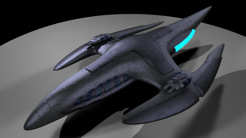 The most beautiful ship in EVN was the Polaris Dragon, an organic ship. When I saw a mechanized version of that ship, I decided to create my own version. The Wyvern is the result. Created April 2009
