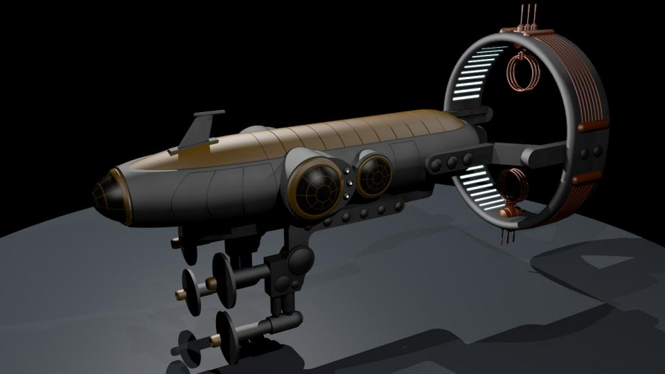 The Aurora is an Ith'hijori civilian starship. These elegant ships have a luxurious interior that is designed for a crew of two. The upper deck holds the living area. This image shows the ship in its flight configuration - the bussard drive is extended and the connectors are folded forward.