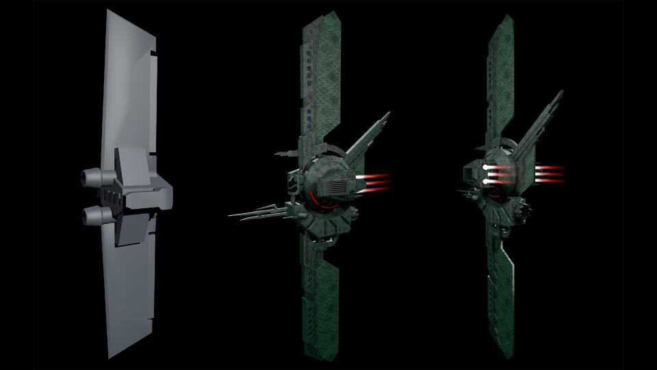 Ares was one of my favorite games back in the 90s, and the Cantharan Schooner was one of my favorite ships. On the left side, you see an untextured render of the original model (the nozzles are its cannons, not engines). I created my own version of the ship, adding gimballed laser cannons and swiveling engines for maneuverability. Created July 2017