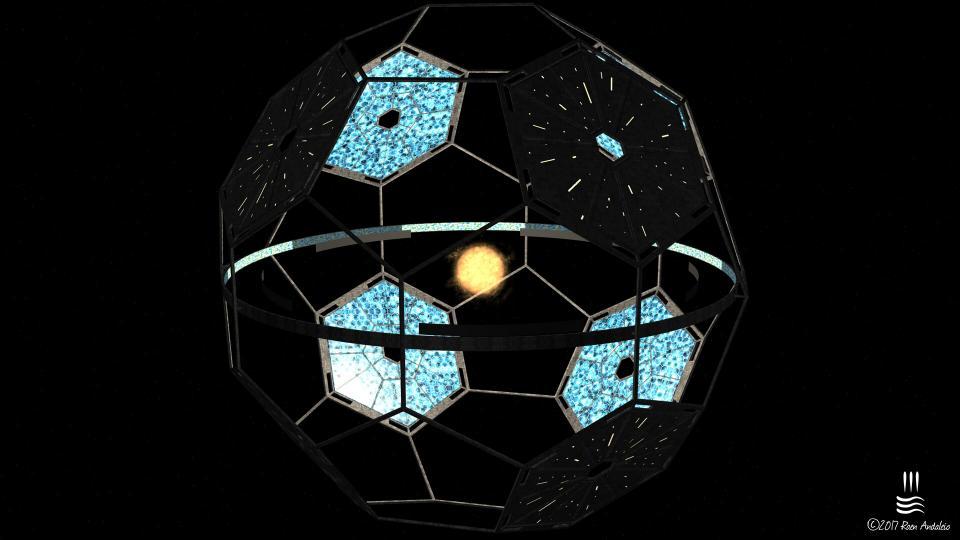 Meine Version einer Dyson-Sphäre um einen roten Zwergstern. Ich wollte keine komplette Kugel, nur der äquatoriale Ring ist bewohnbar. Gewaltige Solarpanelen erzeugen genügend Energie, um die Struktur zu versorgen. Statiten, die über dem Ring schweben, sorgen für einen Tag- und Nachtzyklus. Die Gesamtfläche des Habitats (Land + Ozeane) beträgt 657.654.160.000 km² (1289 Erdoberflächen). Erstellt September 2017