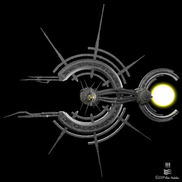 The Suntail was an attempt to create a ship that was clearly not of Human design. I had this radial design in my mind and I'm quite happy with the result. Created October 2019